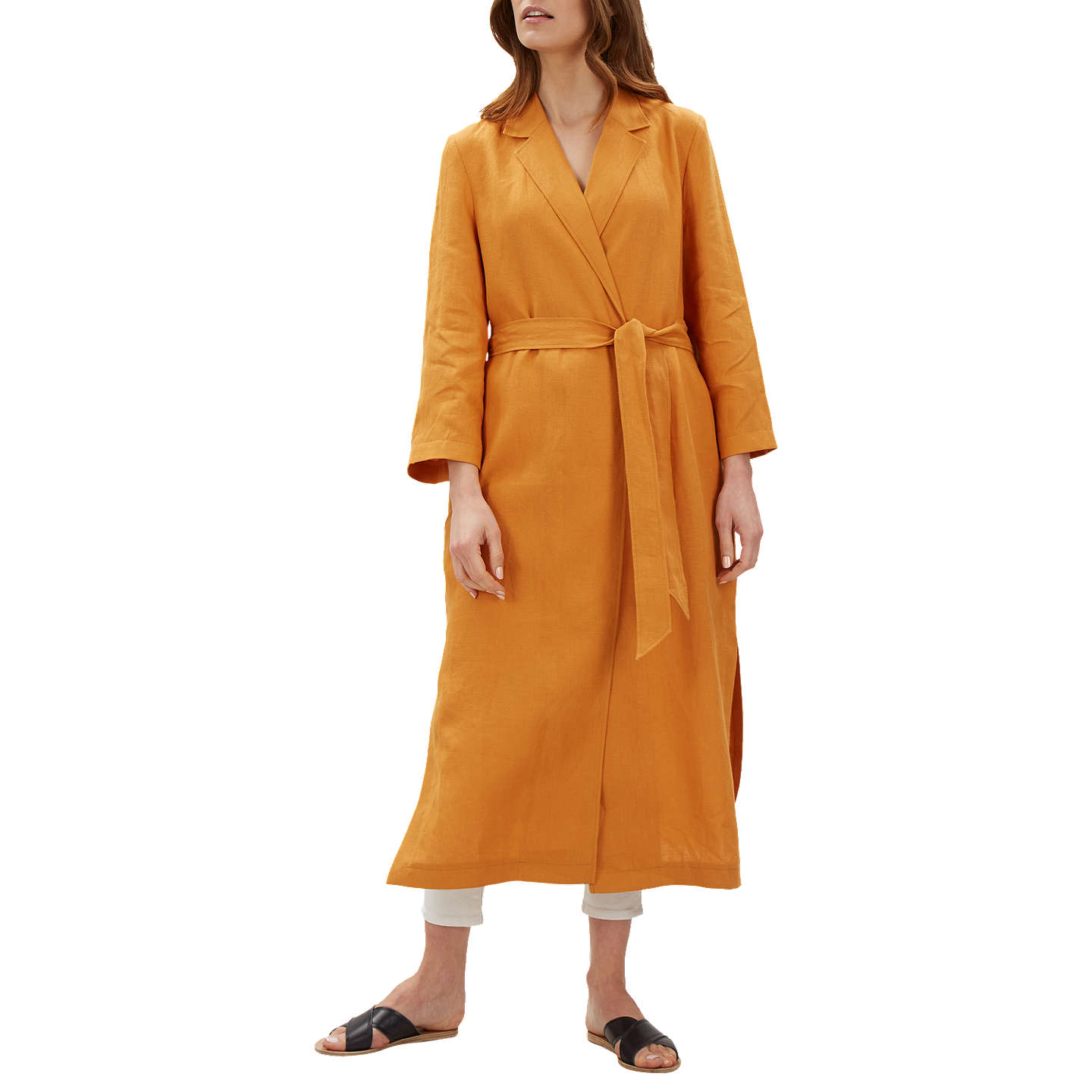 Jaeger Linen Duster Coat, Orange by Jaeger