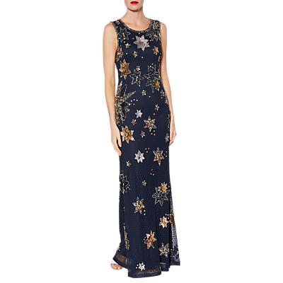 Gina Bacconi Astrid Beaded Maxi Dress, Navy
