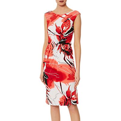 Gina Bacconi Arlene Floral Print Jersey Dress, Red/White