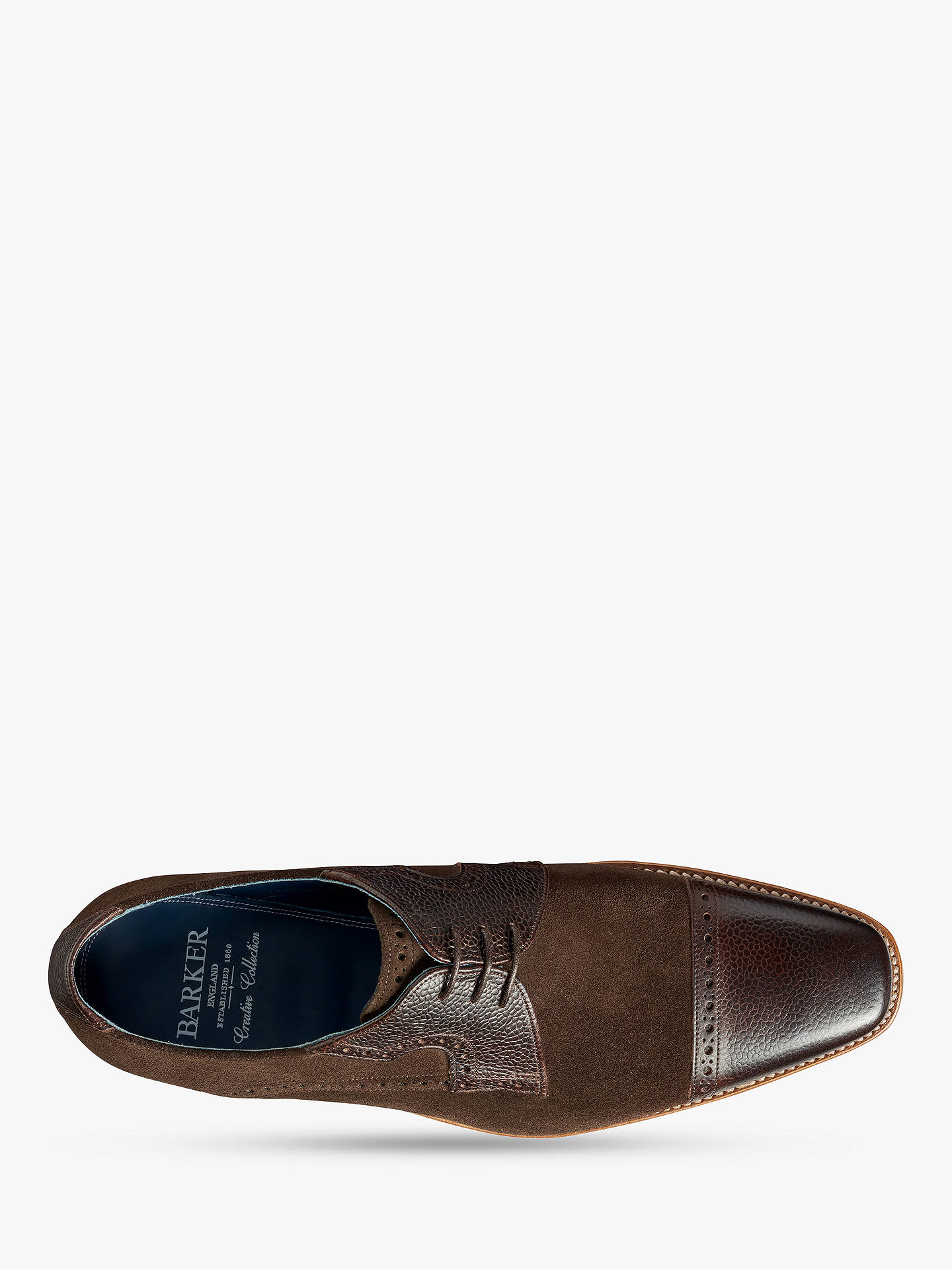 BuyBarker Ashton Leather and Suede Brogue Shoes, Brown, 8 Online at johnlewis.com