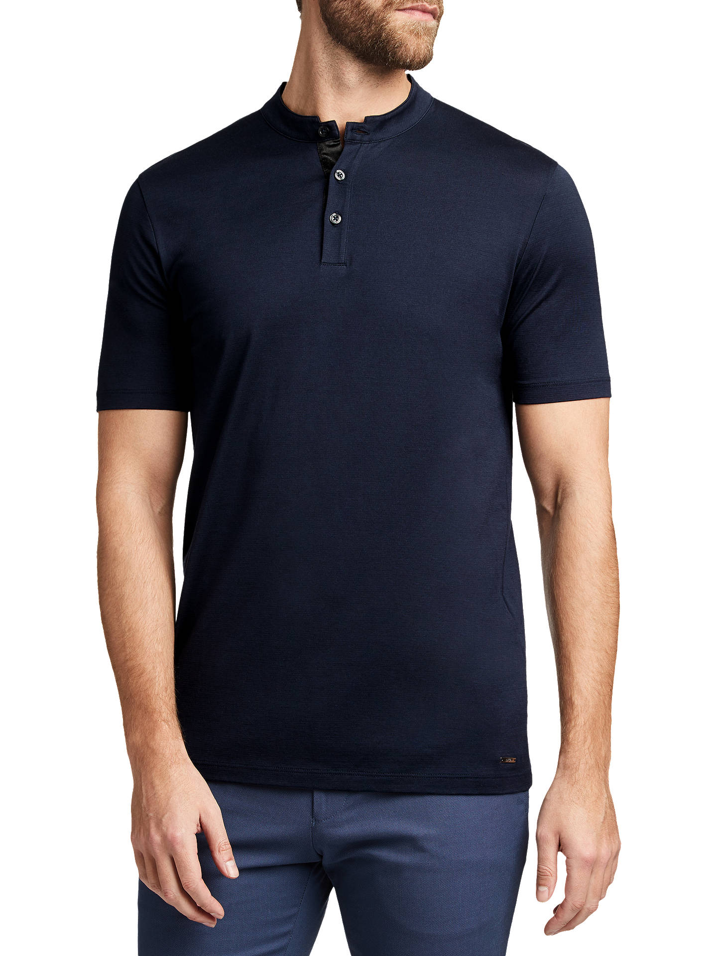 a449310ed Buy HUGO by Hugo Boss Daspen Stand Collar Polo Shirt, Navy, S Online at ...