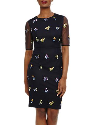 Phase Eight Annabeth Floral Embroidered Dress, Navy
