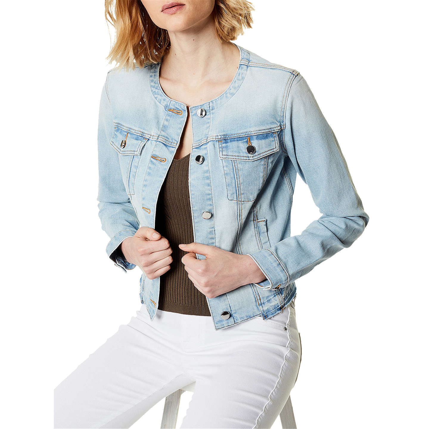 Karen Millen Frayed Denim Jacket, Denim by Karen Millen
