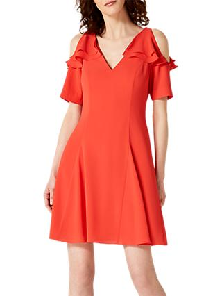 Damsel in a Dress Juna Ruffle Cold Shoulder Dress, Red