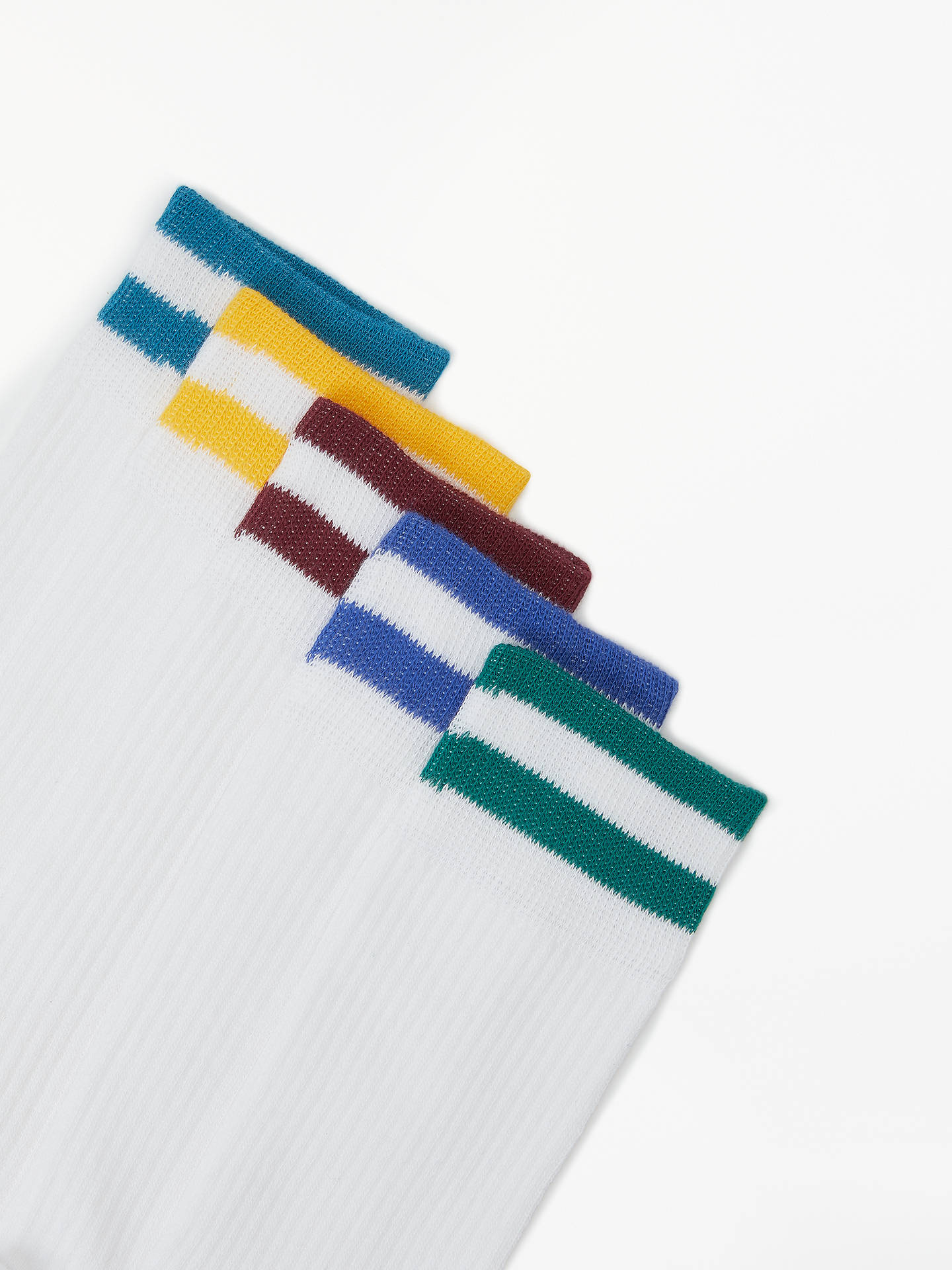 Buy John Lewis & Partners Cushioned Long Socks, Pack of 5, White, S Online at johnlewis.com