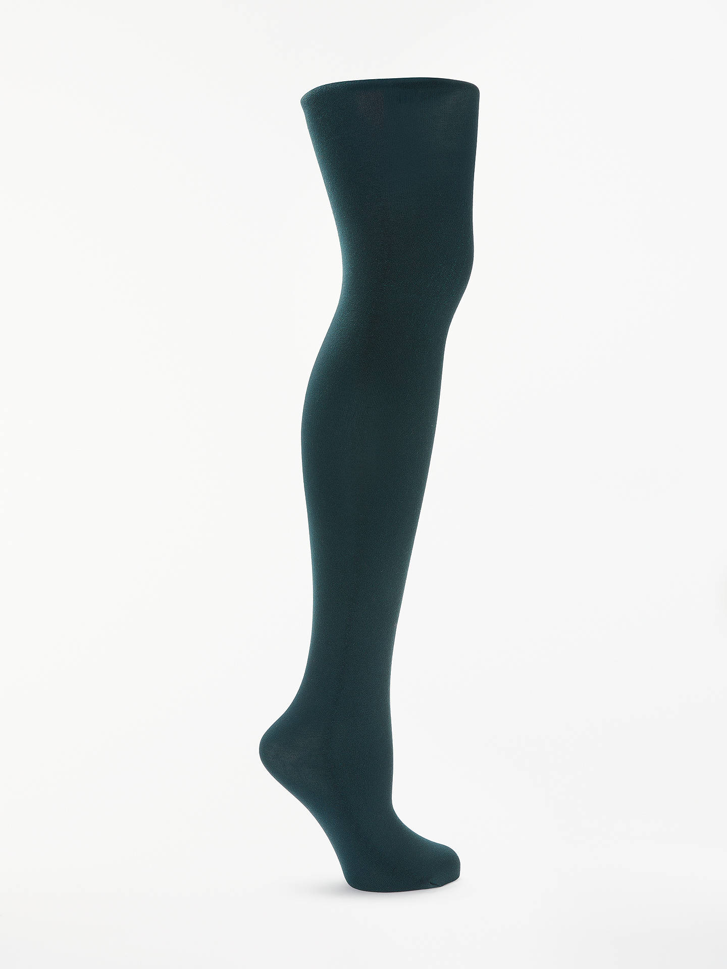 BuyJohn Lewis & Partners Egyptian Cotton Rich Velvet Touch Opaque Tights, Teal, XL Online at johnlewis.com