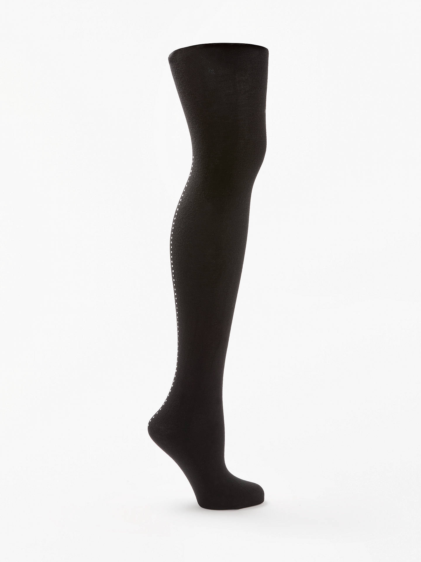 BuyJohn Lewis & Partners Diamante Backseam Detail Opaque Tights, Black, S Online at johnlewis.com