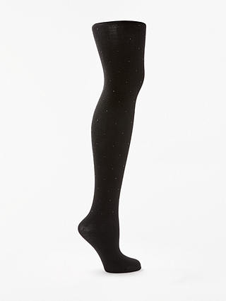 Buy John Lewis & Partners Diamante Detail Opaque Tights, Black, S Online at johnlewis.com