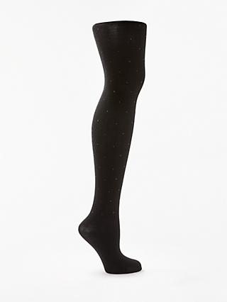 John Lewis & Partners Diamante Detail Opaque Tights, Black