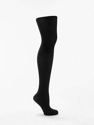 Buy John Lewis & Partners Extra Fine Egyptian Cotton Blend Opaque Tights, Black, S Online at johnlewis.com