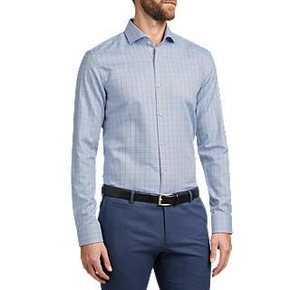 HUGO by Hugo Boss Kason Windowpane Check Slim Fit Shirt, Open Blue