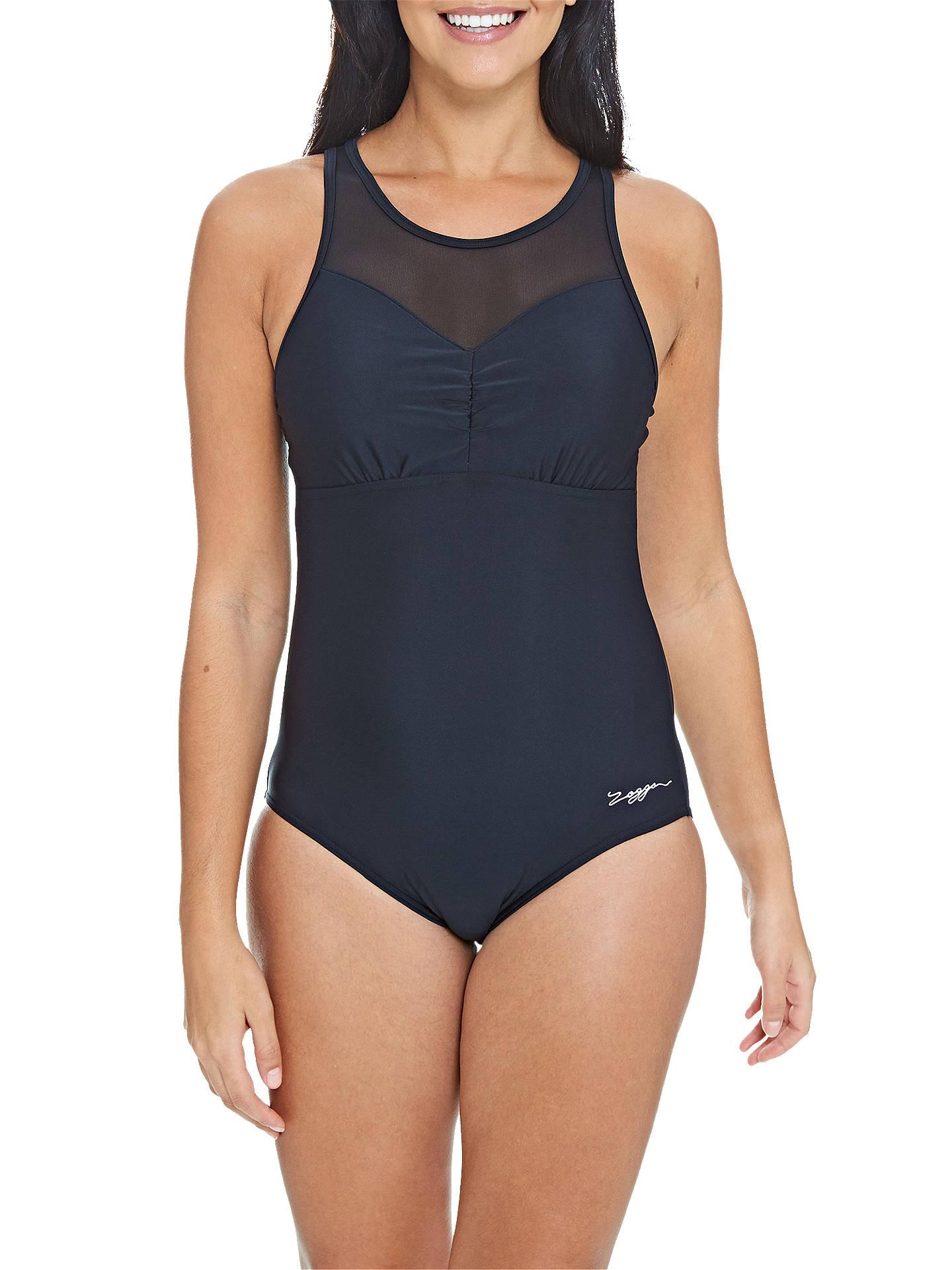 6f4c01298c5be Buy Zoggs Marengo Mesh Clipback Swimsuit, Black, 10 Online at johnlewis.com  ...