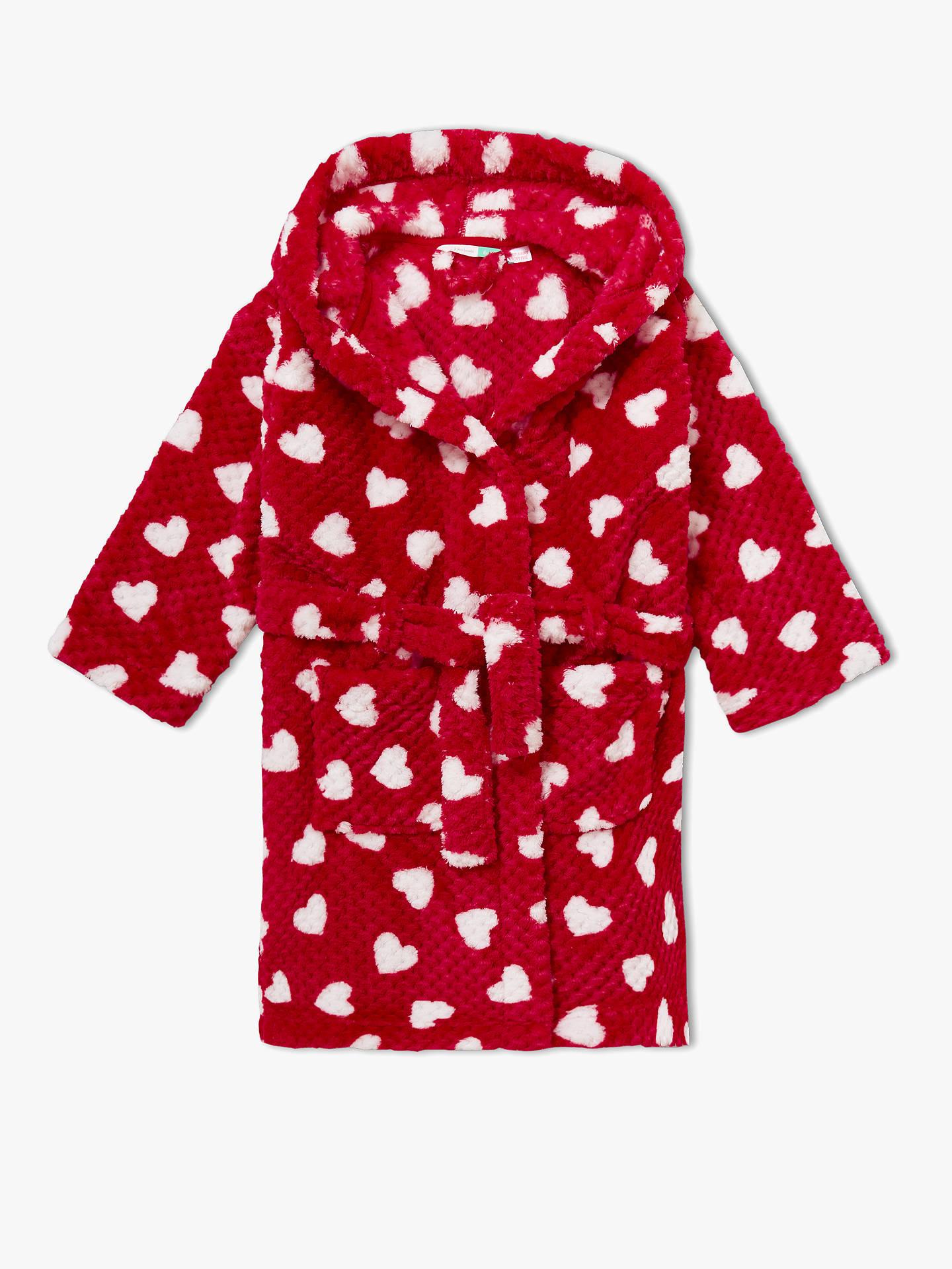 BuyJohn Lewis & Partners Girls' Heart Print Robe, Red, 10 years Online at johnlewis.com