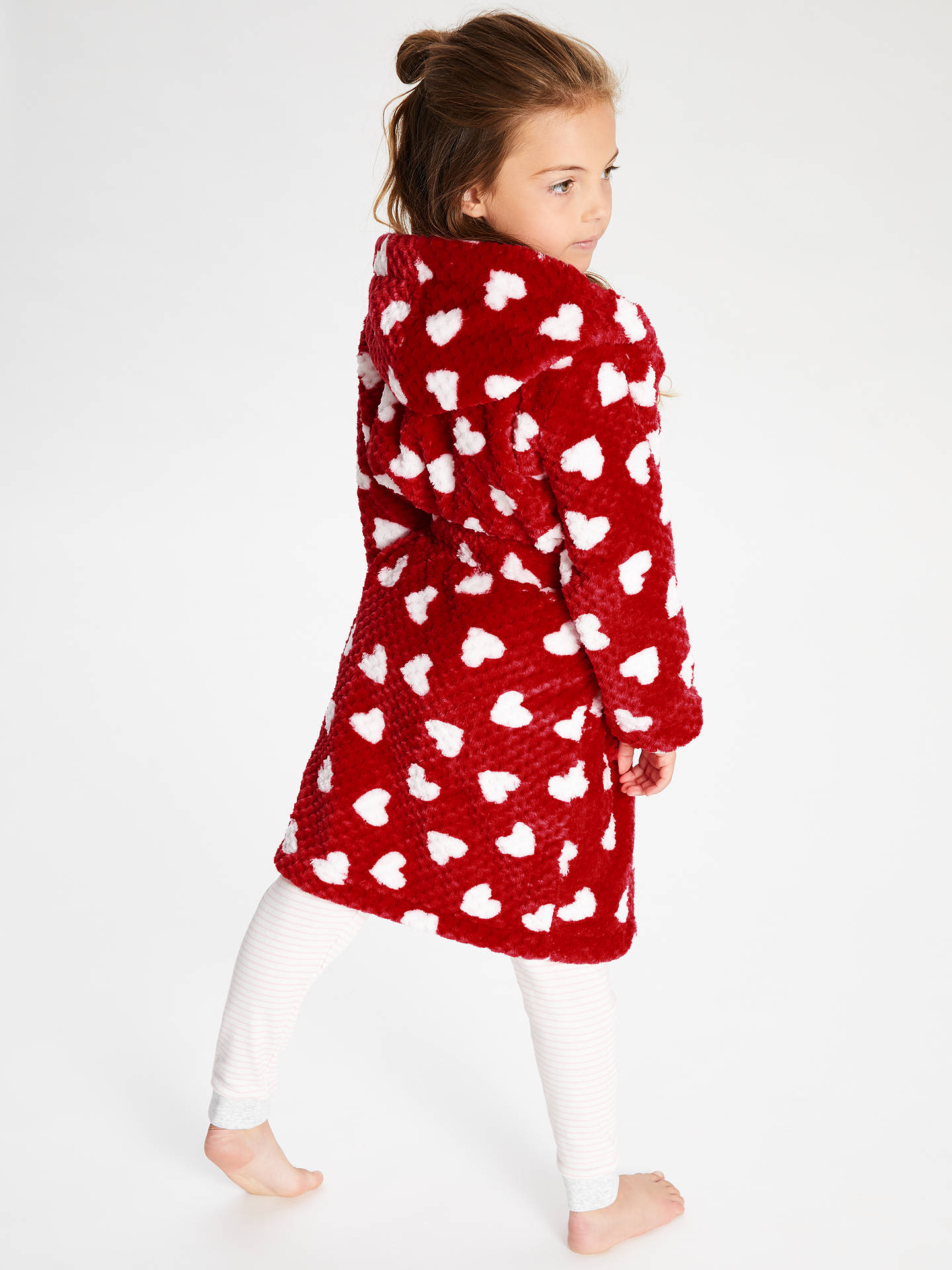 Buy John Lewis & Partners Girls' Heart Print Robe, Red, 14 years Online at johnlewis.com
