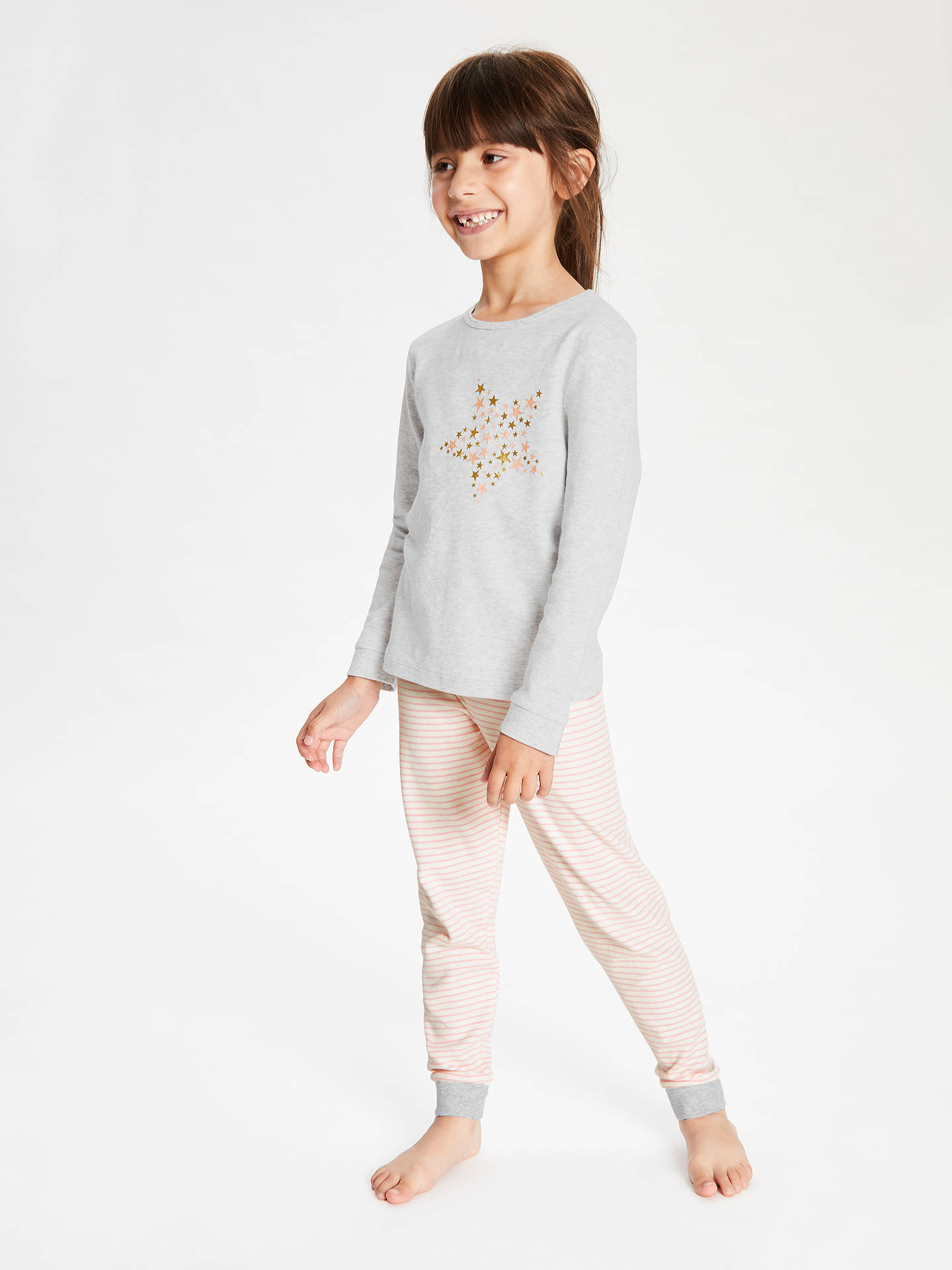 Buy John Lewis & Partners Girls' Placement Star Pyjamas, Grey, 6 years Online at johnlewis.com