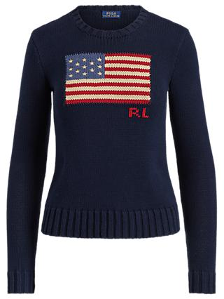 Polo Ralph Lauren Flag Cotton Jumper, Hunter Navy