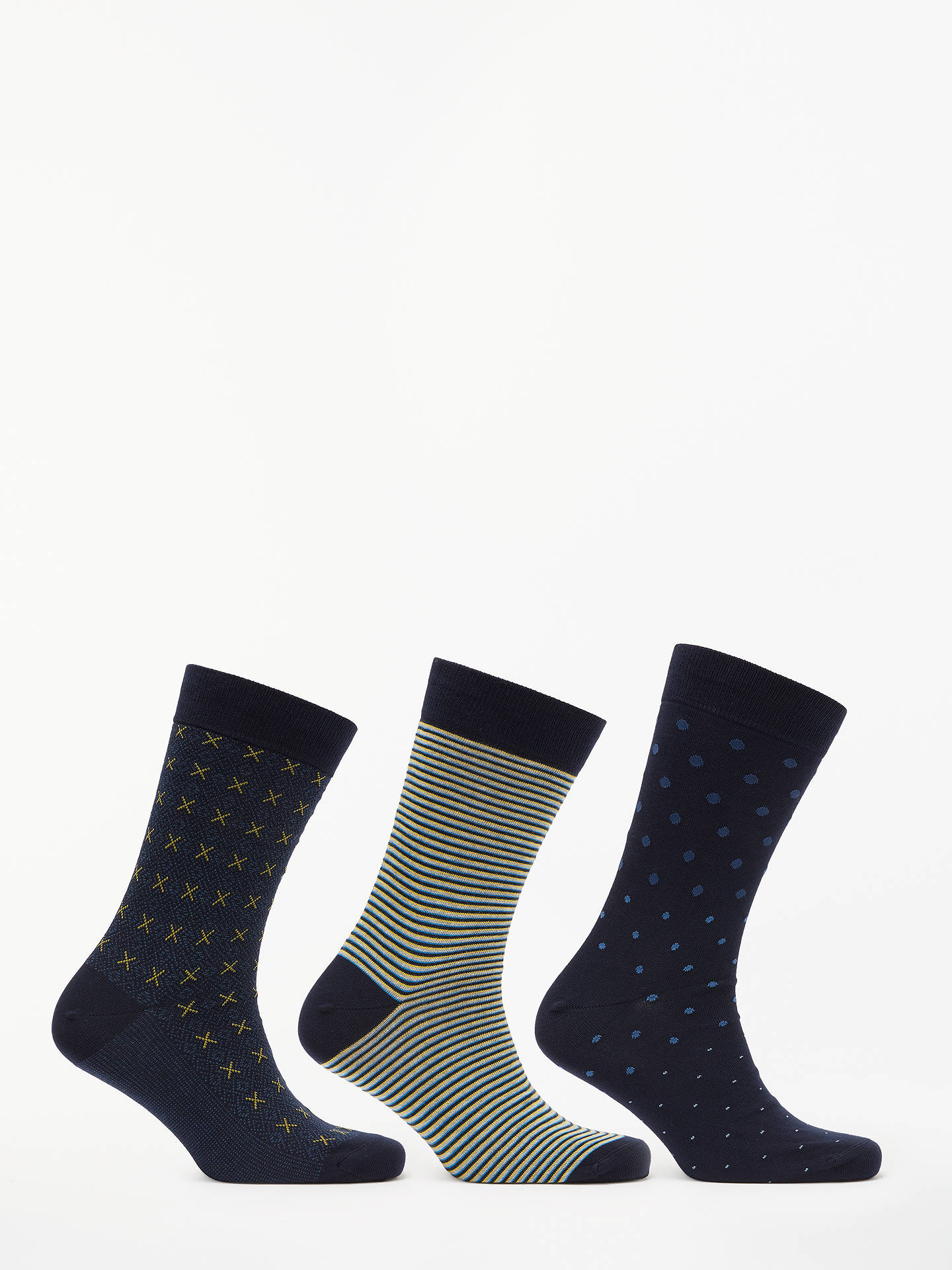 John Lewis & Partners Made in Italy Egyptian Cotton Pattern Socks ...