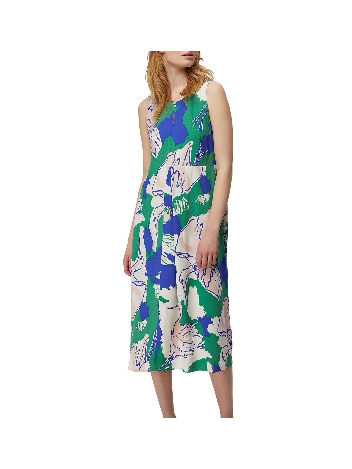 White Stuff Painted Crane Dress Green 6 Online At Johnlewis