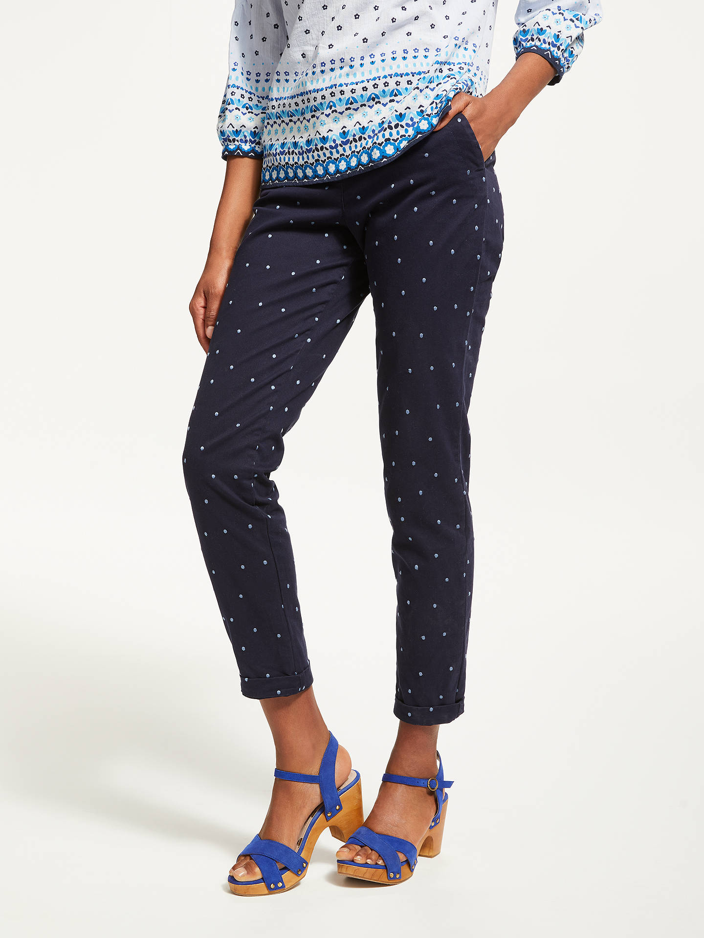 BuyBoden Rachel Spot Chino Trousers, Navy, 8 Online at johnlewis.com
