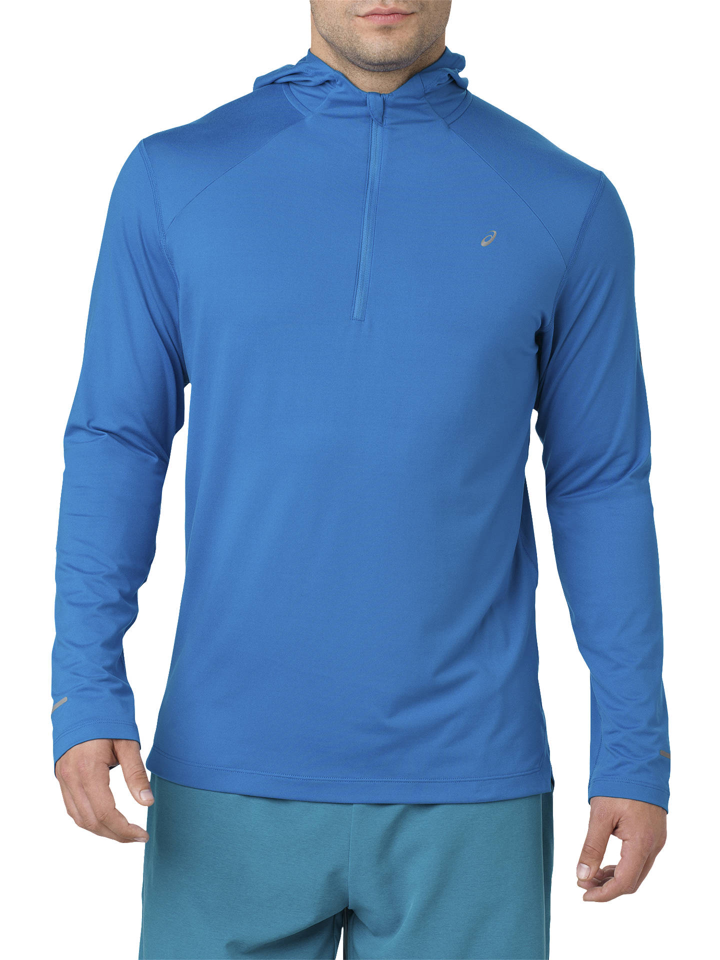 BuyASICS Icon Hooded Running Top, Race Blue, S Online at johnlewis.com