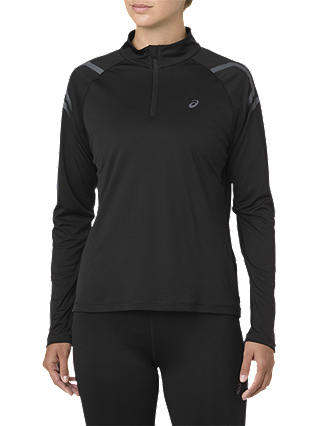 Buy ASICS Icon 1/2 Zip Running Top, Performance Black/Dark Grey, S Online at johnlewis.com