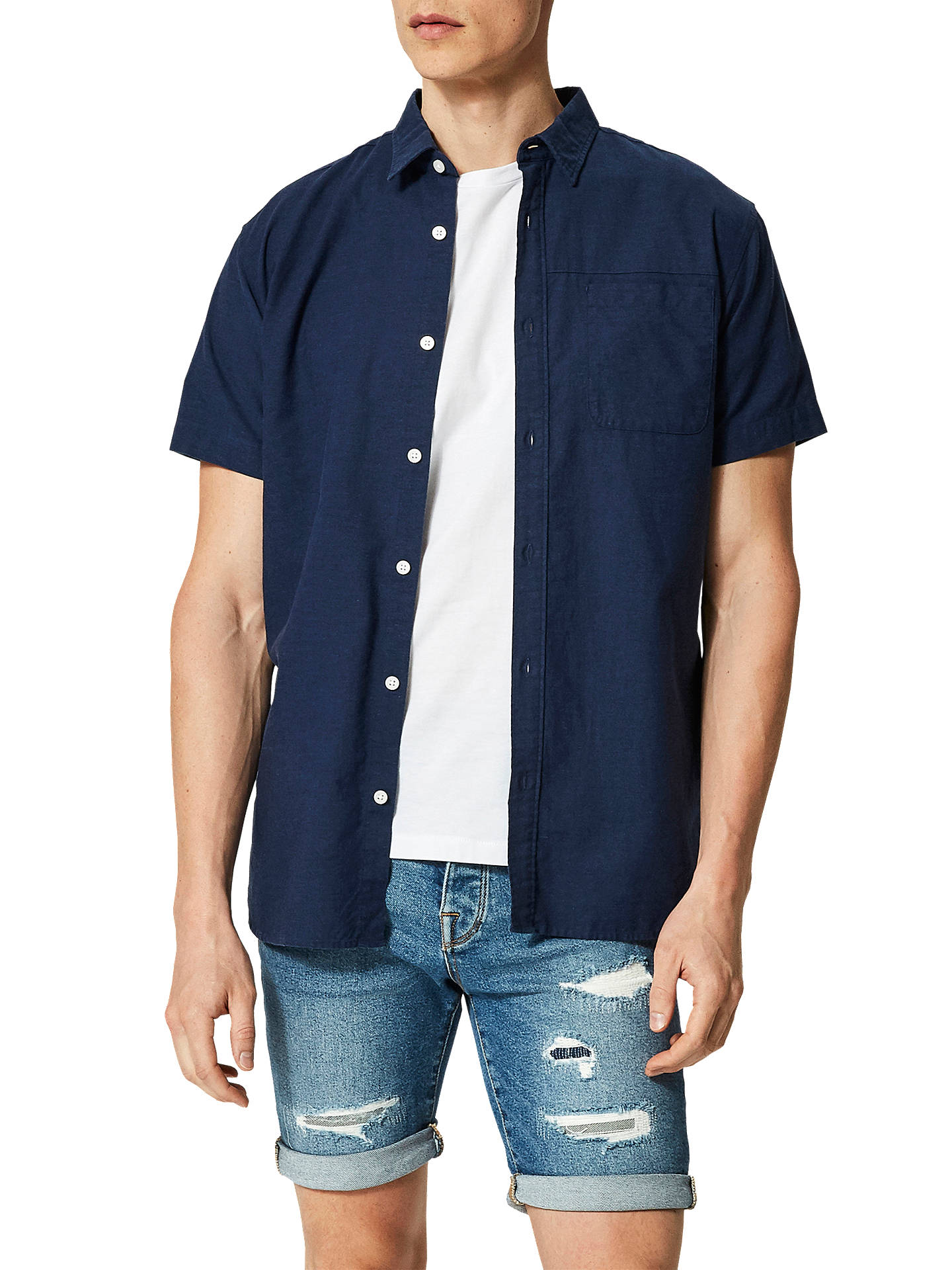 Buy Selected Homme Onerelio Short Sleeve Shirt, Dark Sapphire, M Online at johnlewis.com