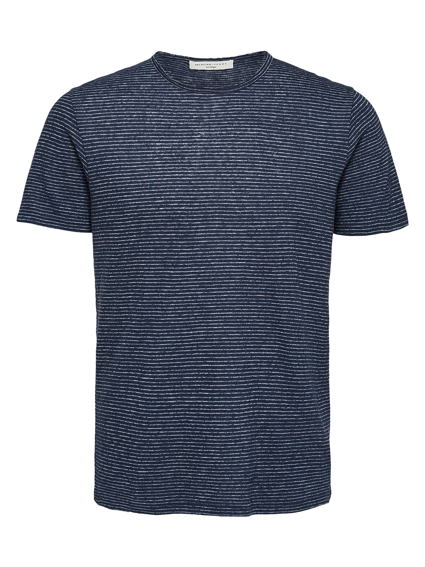 BuySelected Homme Shnlinen Short Sleeve Stripe T-Shirt, Dark Sapphire, M Online at johnlewis.com