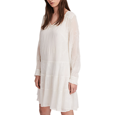 AllSaints Abelie Floral Embroidered Verity Dress, Chalk White