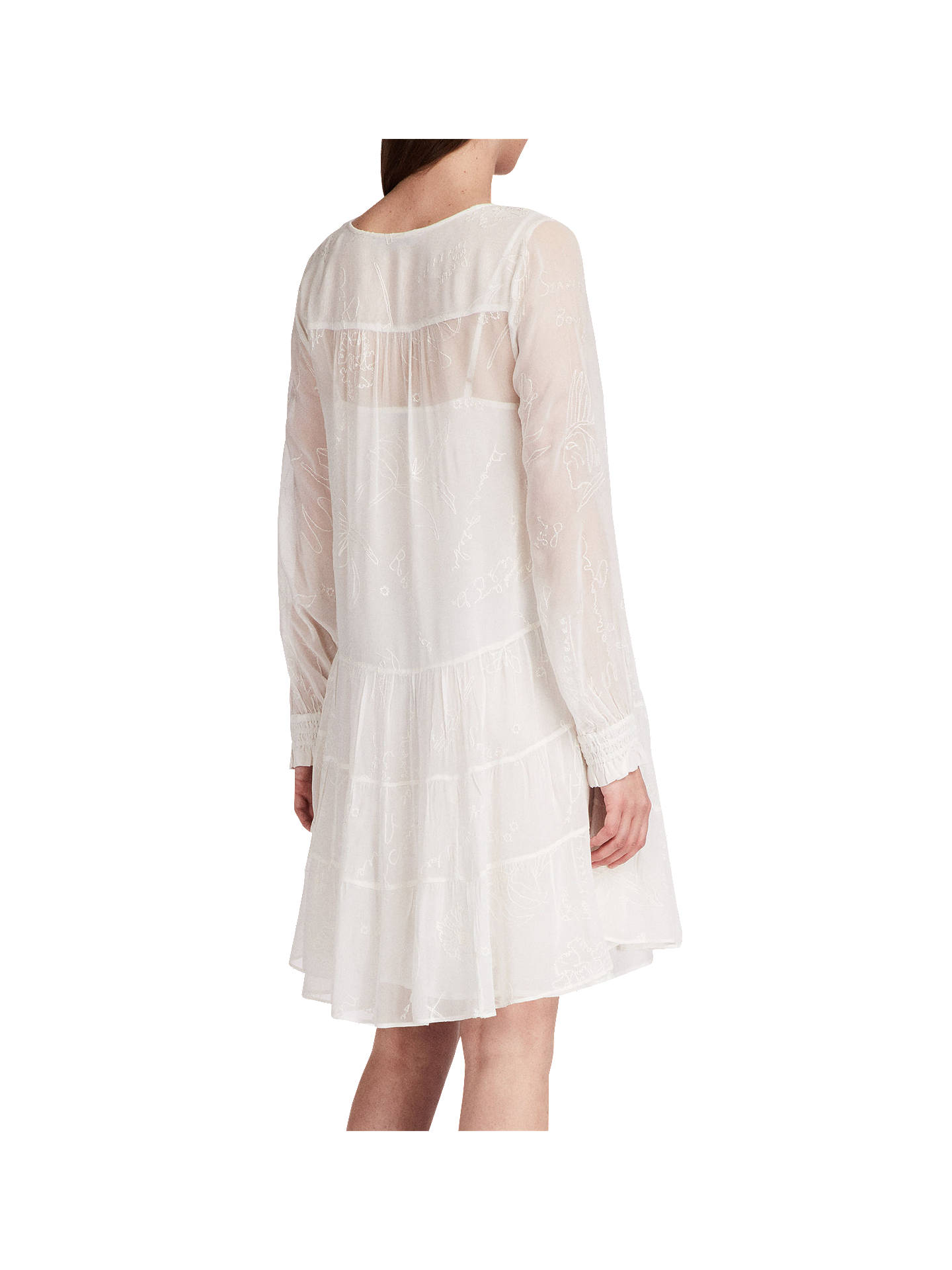 Buy AllSaints Abelie Floral Embroidered Verity Dress, Chalk White, XS Online at johnlewis.com