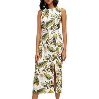 Warehouse Palm Tie Back Midi Dress, Multi