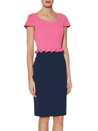 Gina Bacconi Trudy Colour Block Dress, Pink/Multi