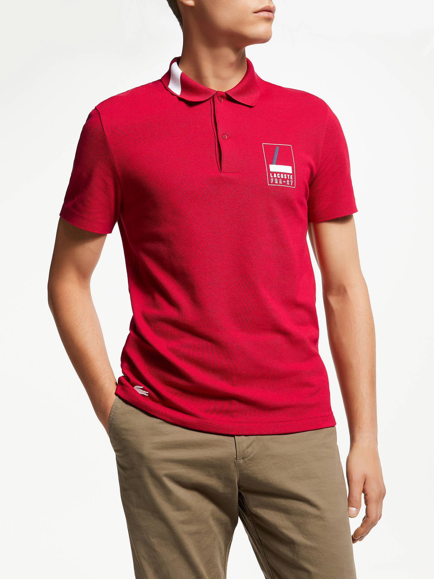 0a77401400ef6 BuyLacoste Abstract Croc Short Sleeve Polo Shirt, Red, S Online at  johnlewis.com ...