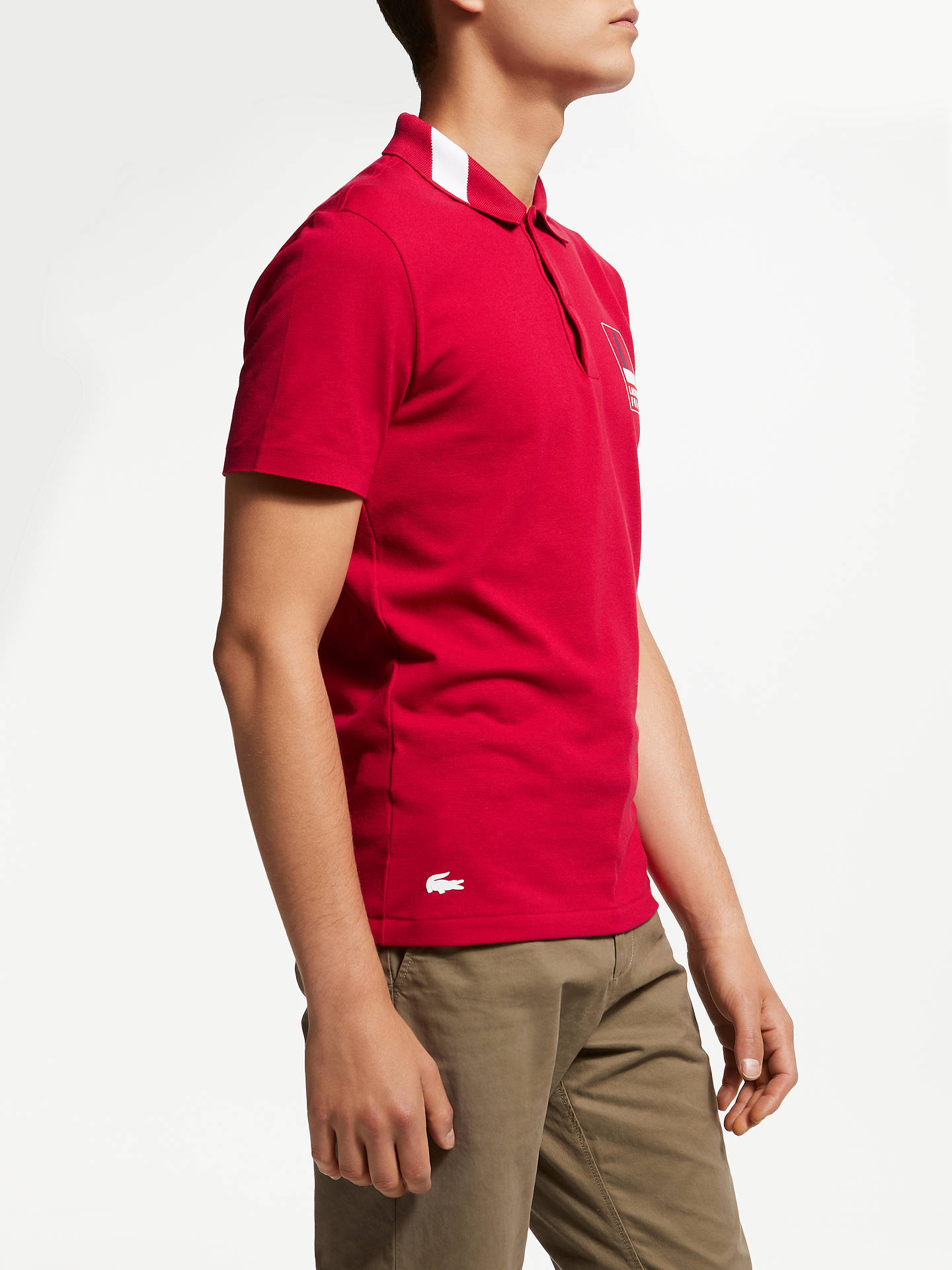80faa819 Buy Lacoste Abstract Croc Short Sleeve Polo Shirt, Red, L Online at  johnlewis.