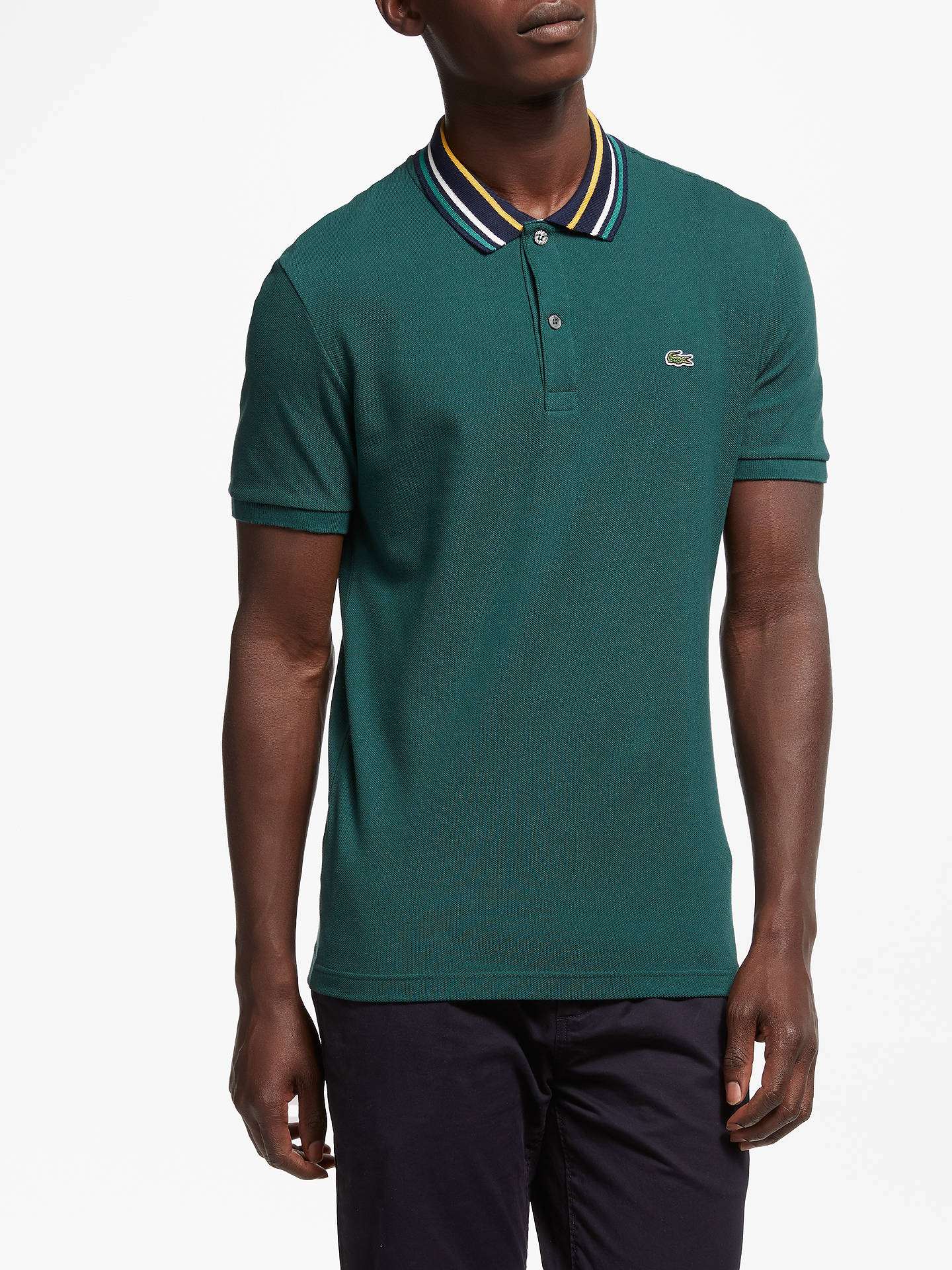 741acedb Buy Lacoste Triple Tipped Short Sleeve Polo Shirt, Green, S Online at  johnlewis.