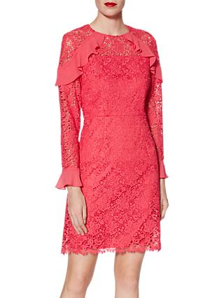 Gina Bacconi Shola Floral Lace Mini Dress, Flamingo Pink