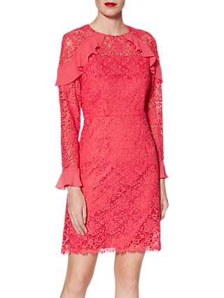 Gina Bacconi Shola Floral Lace Mini Dress, Flamingo Pink