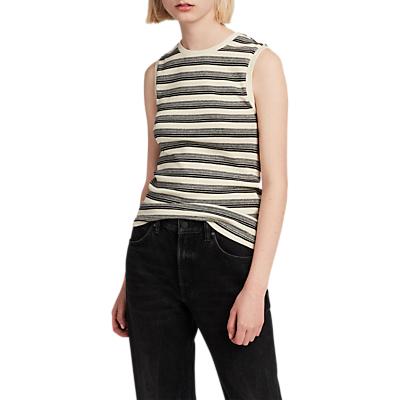 AllSaints Imogen Stripe Tank Top, Cream/Black