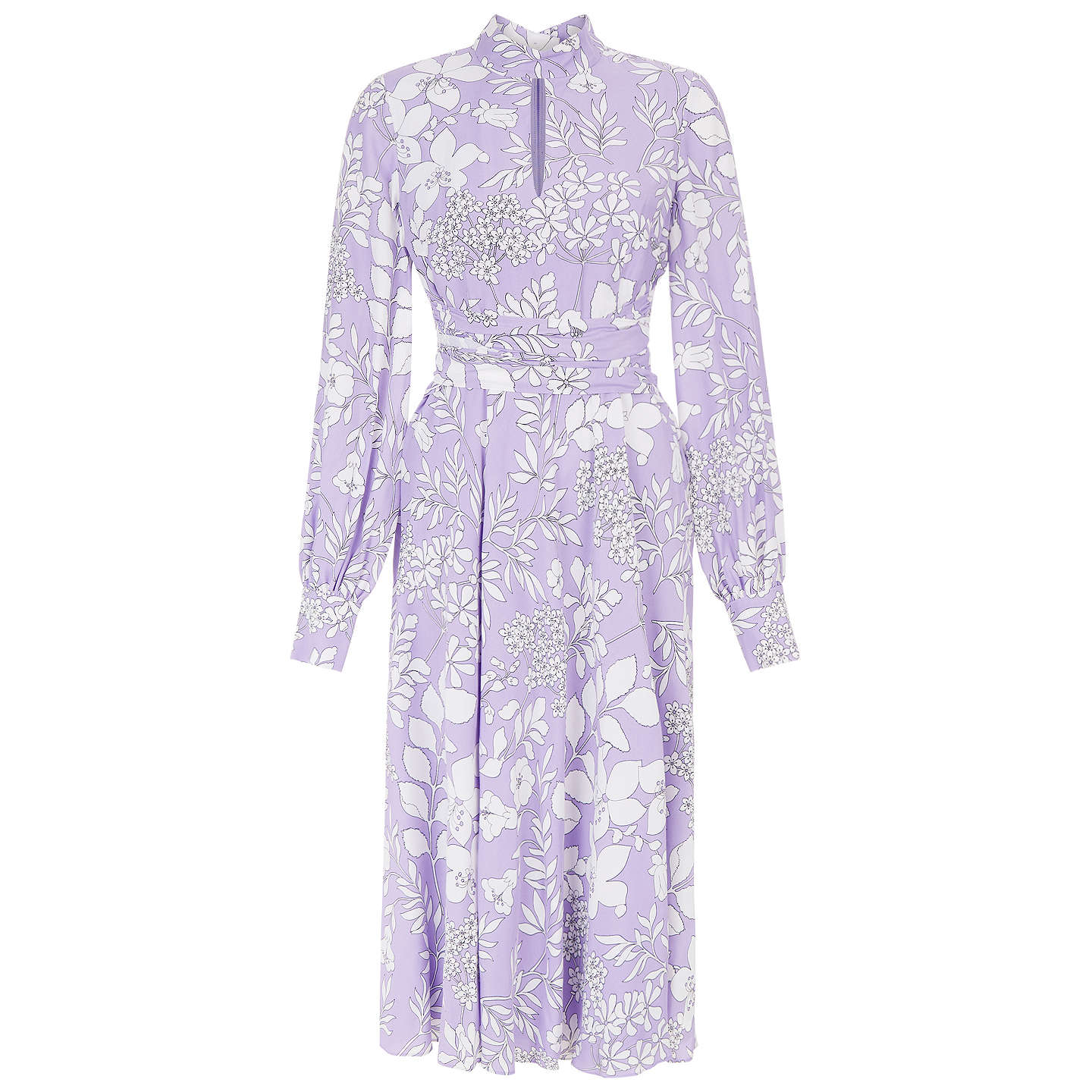 BuyHobbs Silvia Midi Dress, Lilac/White, 8 Online at johnlewis.com