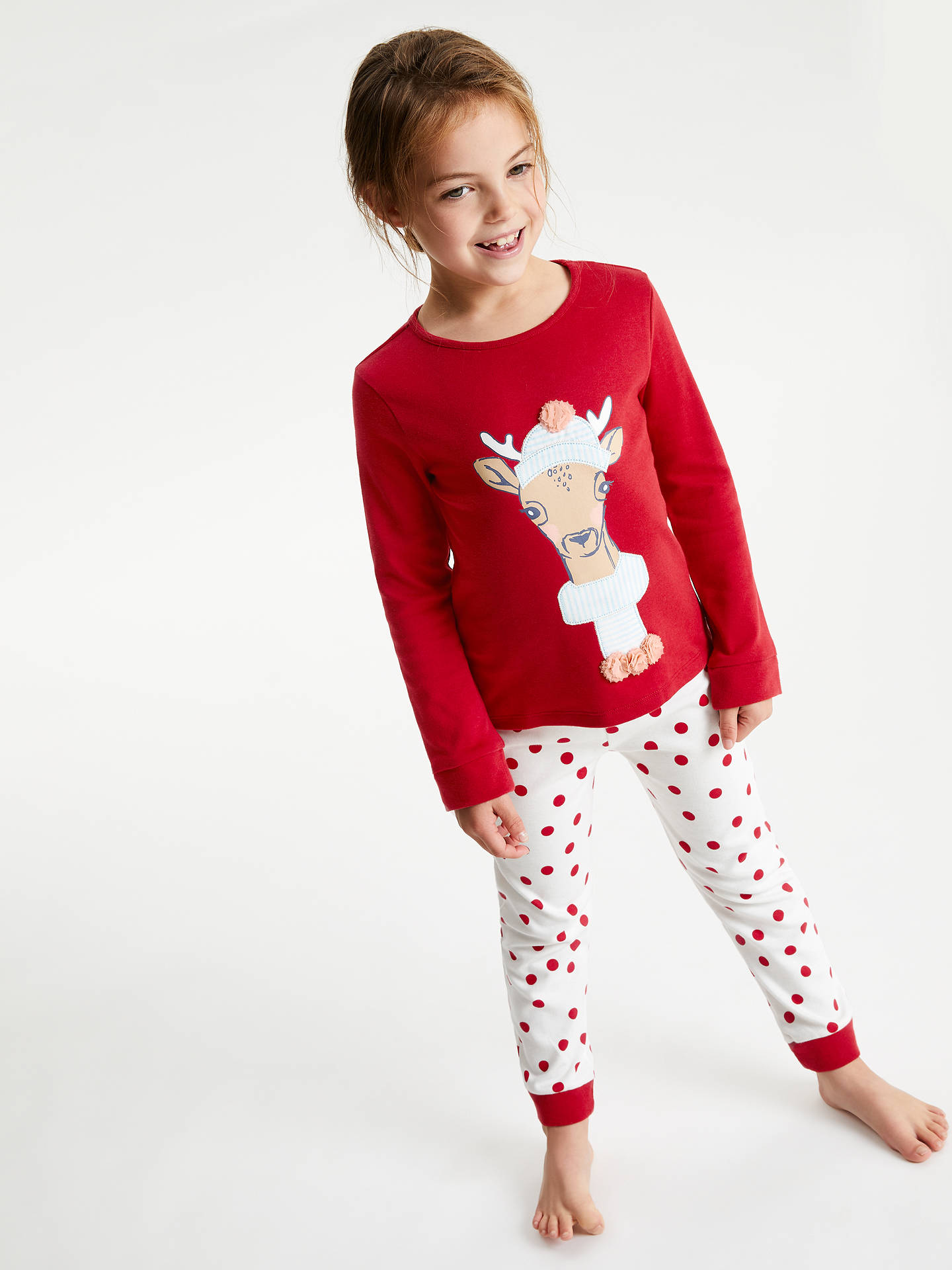 Buy John Lewis & Partners Girls' Fawn Jersey Pyjamas, Red, 7 years Online at johnlewis.com