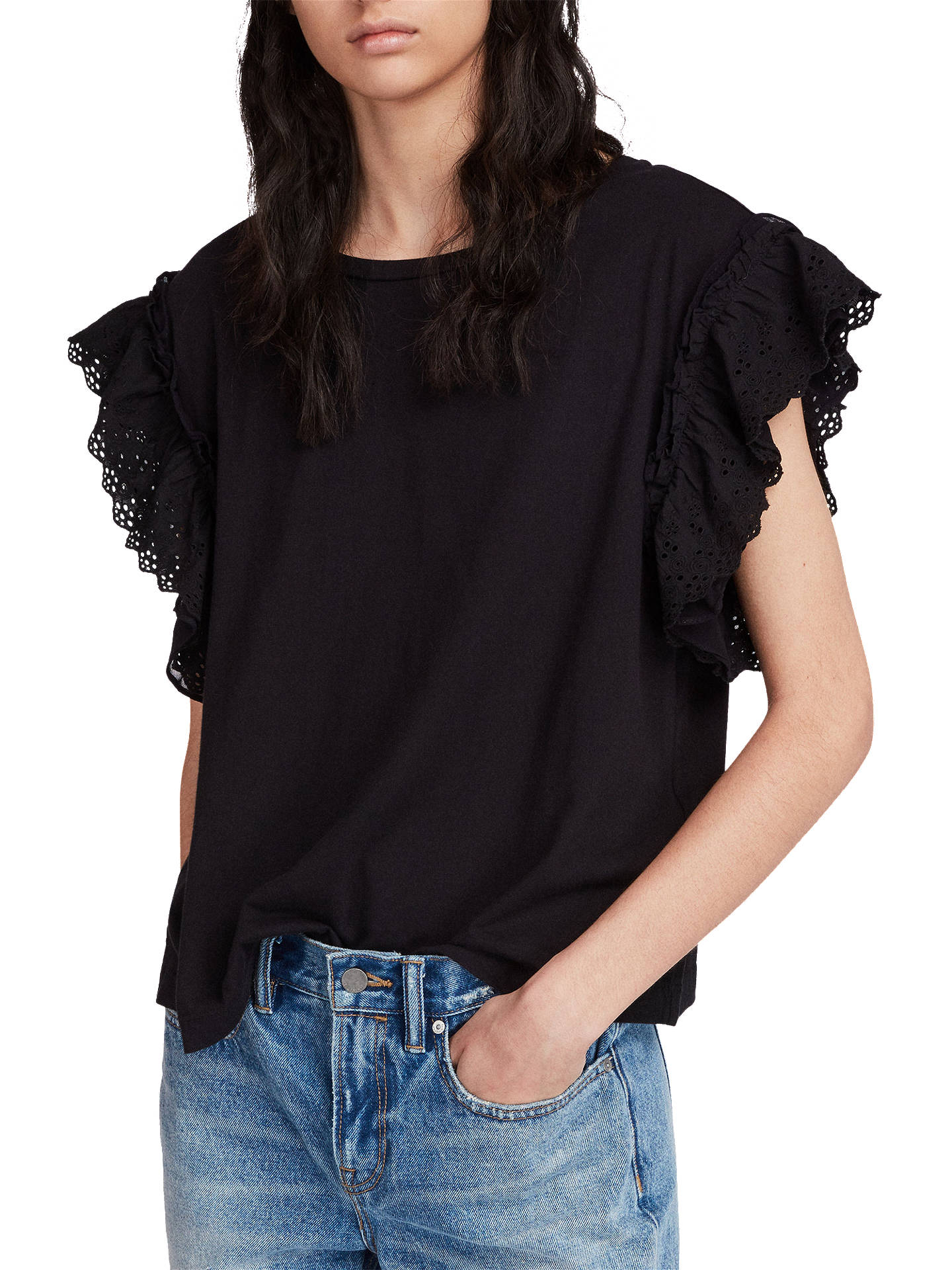 BuyAllSaints Senna Adelaide Ruffle Sleeve Top, Black, XS Online at johnlewis.com