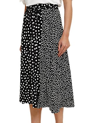 Phase Eight Sallie Mixed Spot Midi Skirt, Black/White