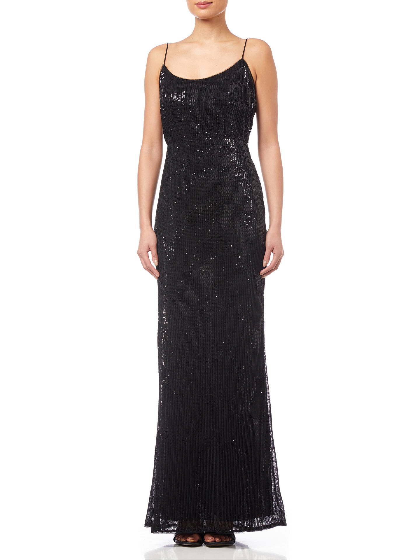 BuyAdrianna Papell Pleated Sequin Dress, Black, 8 Online at johnlewis.com