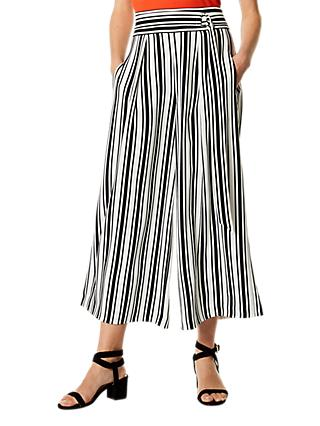 Karen Millen Engineered Stripe Trousers, Black/White