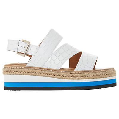 Dune Black Look Espadrille Trim Stripe Stacked Flatform Sandal, Crocodile White
