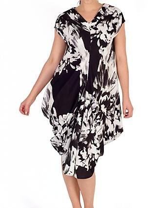Chesca Floral Drape Midi Dress, Black/White