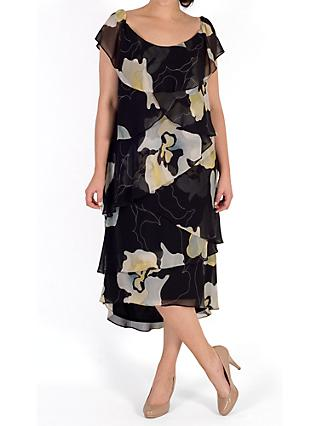 Chesca Floral Layered Dress, Black/Multi