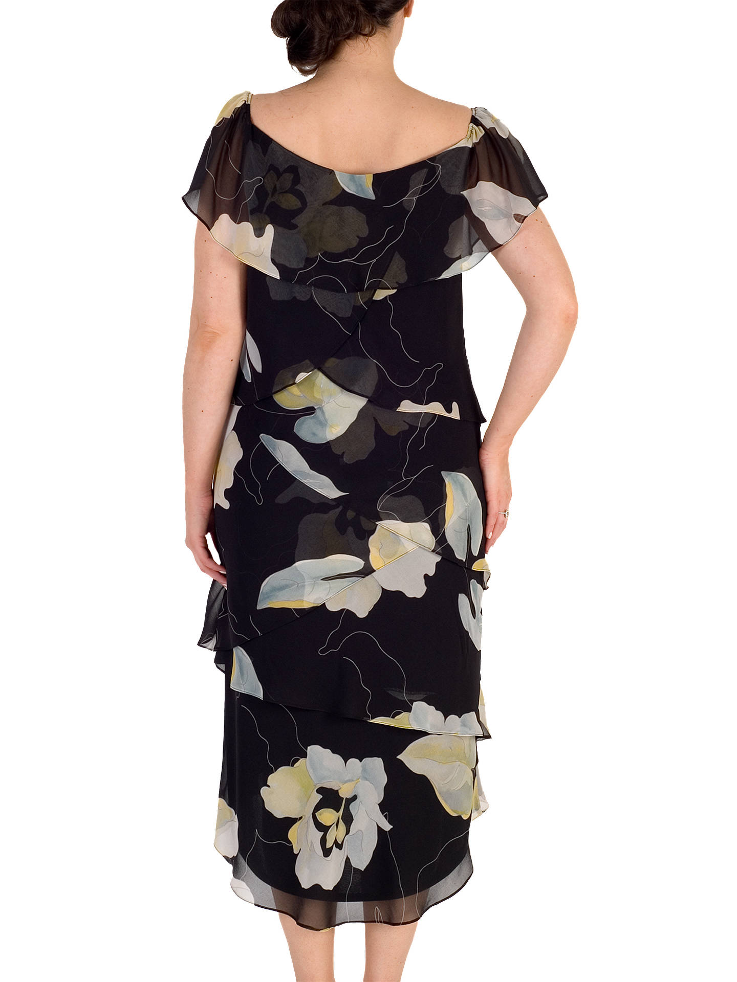 BuyChesca Floral Layered Dress, Black/Multi, 12 Online at johnlewis.com