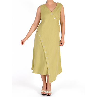 Image of Chesca Button Detail Linen Dress, Lime