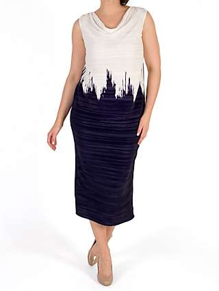 Chesca Colourblock Dress, Ivory/Blue