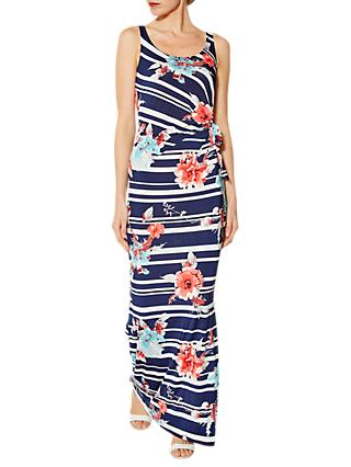 Gina Bacconi Hayden Floral Stripe Maxi Dress, Navy/White